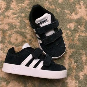 Black suede baby adidas shoes size 5 Velcro